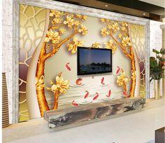 Sob encomenda da foto papel de parede grande 3D sofá TV fundo papel de parede pintura mural da parede cortinas de ouro Pachira 3D mural papel de parede 201516103(China (Mainland))