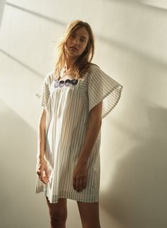 e2784e6b7e madewell embroidered butterfly dress worn with pressed petals layered  necklace. Madewell Dresses, Karmen Pedaru