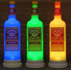 Jeremiah Weed Southern Style Sweet Tea Vodka Remote Control Color Change LED Bottle Lamp Bar Light