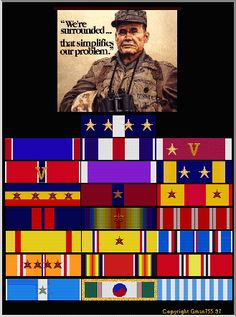 Do you have more ribbons than Chesty Puller? Marine Quotes, Usmc Quotes, Quotes Quotes, American Veterans, American Soldiers, Marine Corps, Military Medals And Ribbons, Chesty Puller, Famous Marines