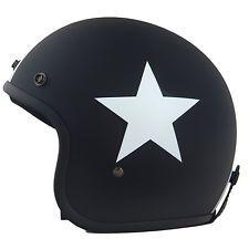 Helm matt schwarz mit weißem Stern retro für Vespa u.a. Roller Motorrad Größe SM