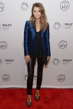 Keri Russell in a metallic blue blazer and leather pants