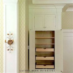 bronxville-kitchen-pantry- photo and design by Laurel Bern - JEM woodworking. Custom sconce - Canopy Designs. Wallpaper - Cole & Sons.