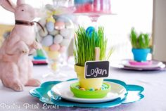Easter table + tutorial on how to make these cute place setting name tags #yearofcelebrations