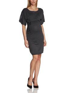 Mamalicious - Vestido premamá de punto de manga corta para mujer, talla 38, color gris oscuro melange