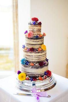Naked Cake Layer Sponge Icing Flowers Multicoloured Fun Creative Wedding http://www.catlaneweddings.com/