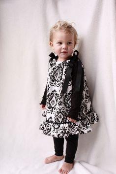 Baby Girl Christmas Pillowcase Dress Black and white by haddygrace, $22.00