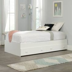 Pinwheel Mate's Bed in Soft White - Sauder 422700422700 Features: Accommodates twin-sized mattress Convenient under bed storage features two drawers with castersDrawers can be used on either side of the bed or one on each sideWhen used with Twin Headboard Platform Bed With Drawers, Full Platform Bed, Full Bunk Beds, Kid Beds, Captains Bed, Twin Headboard, Under Bed Storage, Panel Bed, White Bedding