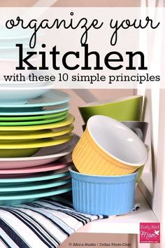 How to organize your kitchen using simple principles. If you want kitchen organization tips and ideas, this post will give you tons of inspiration! Lots of photos of cupboards, cabinets and counters. #organize #organization #kitchen #kitchenorganization