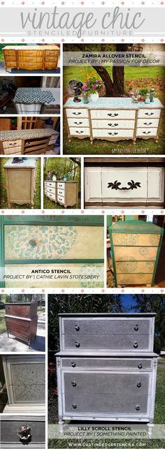 Stencil an old dresser to create a vintage chic piece of furniture.  www.cuttingedgestencils.com