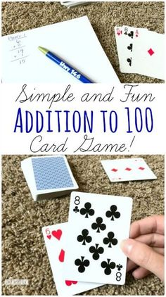 Addition to 100 Card Game - this is such a fun, simple to play math game for first grade and 2nd grade to make practicing math facts fun