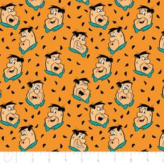 The Flintstones Fabric / Fred in Multi Orange Fabric / 24060002 Camelot / Flintstones by the yard / Yardage and Fat Quarters by SewWhatQuiltShop on Etsy Fred Flintstone, Flintstone Cartoon, 90s Cartoons, Orange Fabric, Retro Wallpaper, Classic Cartoons, Cotton Quilting Fabric, Making Out, Clip Art