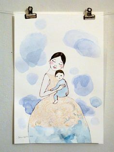 Mom and baby in blue clouds  original watercolor by IrenaSophia,