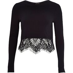 Black long sleeve lace hem t-shirt $44.00