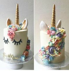 Omg I loooove this! Maybe Stella will get one for xmas (Unicorn Cake Rosanna Pansino) Pretty Cakes, Cute Cakes, Beautiful Cakes, Amazing Cakes, Stunningly Beautiful, Unicorn Birthday Parties, Birthday Cake, Unicorn Party, Rainbow Unicorn