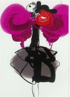 Christian Lacroix's illustration. #inlarariastudio #inspo #design #looks #chic #fashion #couture #Paris