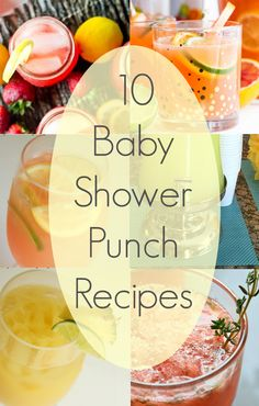 Baby shower drinks and punch recipes to choose from for a boy or girl. Blue, pink, yellow, and dollar store baby shower decoration ideas too. via @thetypicalmom