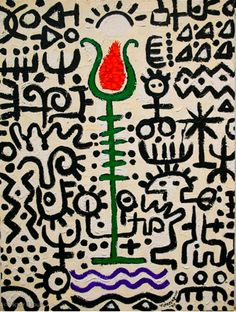 'Orange Tulip' by Nigerian-born American artist Victor Ekpuk (b.1964). via seeds and fruit
