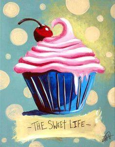 Love cupcake torte, cupcake painting, food painting, sweet life, art for ki Cupcake Illustration, Cupcake Kunst, Cupcake Torte, Cupcake Painting, Food Painting, Strawberry Cupcakes, Paint And Sip, Paint Party, Kitchen Art