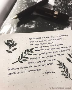 Bullet journal poetry quote, plant drawings.   @the.whimsical.journal