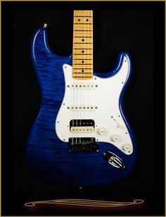 Fender Custom Shop American Custom Maple Top Stratocaster® HSS, Maple Fingerboard in Sapphire Blue at The Guitar Sanctuary McKinney Texas