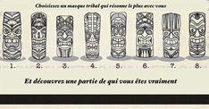 Choisissez un masque tribal qui résonne le plus avec vous et découvrez une partie de qui vous êtes vraiment Test Image, Spiritus, Doodle Art, Zodiac, Culture, Gardens, Pendulum Clock, Beautiful Lyrics, Psychology