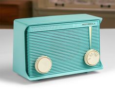 1950s Motorola AM Tube Radio / Model A15J49 / Turquoise Teal Blue / Mid Century Table Top Radio