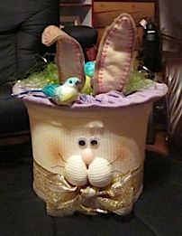 I just got set up on interest.  My daughter was gracious to put this up earlier.  This is made from a plastic ice cream bucket and decorated with fabric, felt, ribbon and cotton.  You can embellish with whatever you like.  I used a bird, styrofoam eggs, and fake grass.