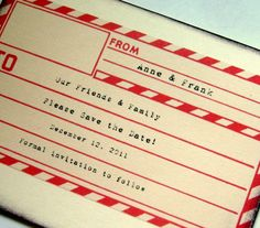 travel save the date, rustic invitation, airmail destination card, envelope, set 12. $27.00, via Etsy.