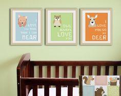 Woodland nursery decor. Forest animal kids wall art. Typography owl nursery art print. Child decor.