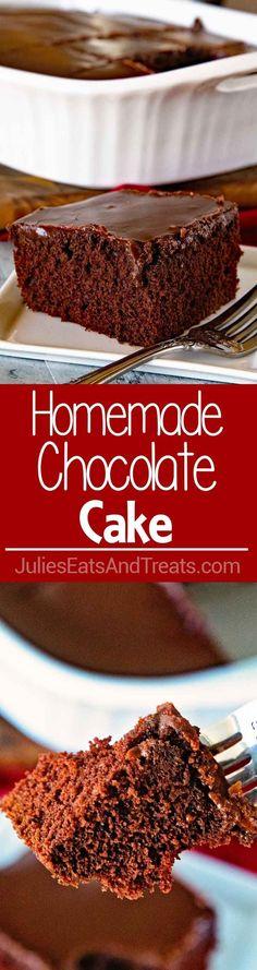 Amazing Homemade Chocolate Cake with Chocolate Frosting ~ Easy, Homemade Chocolate Cake Recipe Topped with the BEST Chocolate Frosting! Anyone Can Make This Moist Homemade Cake! via @julieseats