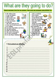 WHAT ARE THEY GOING TO DO? - ESL worksheet by jecika English Teaching Resources, English Writing Skills, English Activities, English Lessons, English Grammar Games, Grammar Quiz, English Vocabulary, 1st Grade Worksheets, Grammar Worksheets