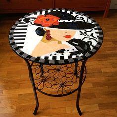 Mosaic Ideas, Mosaic Art, Sewing Ideas, Tables, Glass, Artist, Furniture, Tops, Home Decor