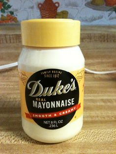 Duke's Mayo. I guess it is really big in the south. I found this in the Dollar Tree this evening. Its only an 8 oz. jar. but enough to try. :) I might get some more and make a chocolate mayo cake with it. :P