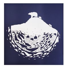Paper Cutting - Polar Bear by Sarah Dennis Illustrations, Art And Illustration, Polar Bear Illustration, Urso Bear, Inuit Art, Wale, Bear Art, Paper Artist, Fauna