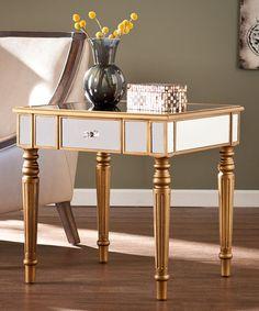 Look at this #zulilyfind! Brandilyn Champagne Gold Mirrored End Table #zulilyfinds