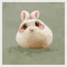 PINK AND WHITE ROUND CARTOON BUNNY