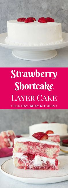 This strawberry shortcake layer cake is packed with strawberries and frosted with whipped cream; it tastes just like strawberry shortcake, but it's a little more fluffy! This recipe uses a box cake mix for ease but you can use your favorite white or yello