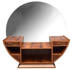 Large Circular Art Deco Walnut Dressing Table - Antiques Atlas