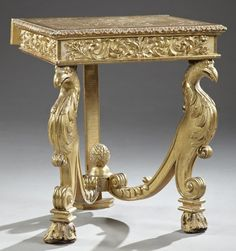 Unusual Continental Carved Gilt Wood Gold Leaf Console.