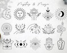 Mini Tattoos, Small Tattoos, Modern Tattoos, Mystic Logo, Mystic Symbols, Illustration Tattoo, Tattoo Flash Art, Poke Tattoo, Future Tattoos