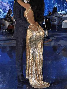 Fashion V-Neck Sequined Halter Dress Maxi Dress – Stagesmile Club Dresses, Nice Dresses, Formal Dresses, Amazing Dresses, Sequin Evening Dresses, Womens Fashion Online, Buy Dress, Bridesmaid Dresses, Bridesmaids
