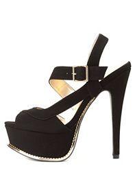 Qupid Strappy Peep Toe Platform Heels