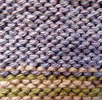 Close-up of BACK of stockinette stitch