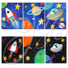 Space Themed Wall Art for Kids, Set of 3 CUSTOM SPACE PAINTINGS, black or blue, 8x10 canvas acrylic art for children