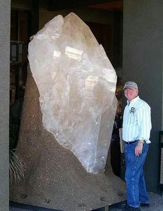 Giant quartz crystal at a rock and gem show