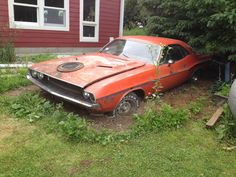 A cool muscle car waiting on a new lease on life.  1970-dodge-challenger-rt-dirt