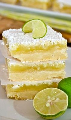 Key Lime Bars Would probably scale back the sugar by 14 cup like she suggests increase juice to 13 cup increase zest to 2 tablespoons Sounds yummy though Key Lime Desserts, Just Desserts, Delicious Desserts, Yummy Food, Lime Dessert Recipes Easy, Green Desserts, Spring Desserts, Lemon Desserts, Biscuits Brownies