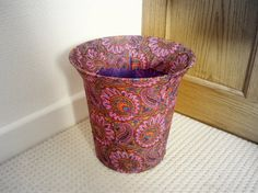Fabric Decoupage Waste Bin