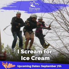 Head to Terrapin Adventures this Labor Day for some high-flying fun and receive a FREE ice cream treat. Though, ice cream might not be the only reason you are screaming when you are done.  Slots will fill up fast, so call today! 301-725-1313 or click http://www.terrapinadventures.com/book-your-adventure/  #LaborDay
